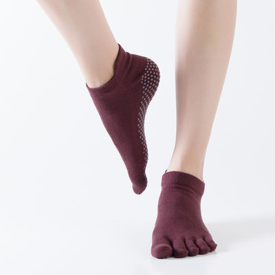 【1/2】纯棉挖孔瑜伽袜子女防滑露趾露背五指袜瑜伽袜运动地板袜