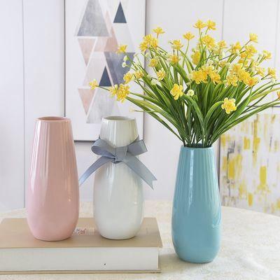 热销白色小清新陶瓷干花瓶餐桌装饰花盆摆件客厅透明玻璃花器插花