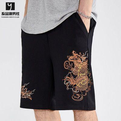 夏季新款短裤男宽松休闲运动工装裤男装潮牌中国龙刺绣五分裤中裤