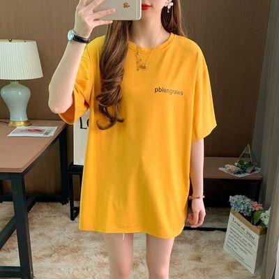 韩版宽松白色短袖t恤女夏季2020女士新款大码胖MM中长款纯棉上衣