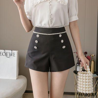2020夏新款显高显瘦气质短裤时尚手工钉珠排扣韩版百搭西装裤女潮