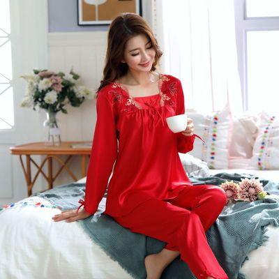 睡衣女仿真丝套装长袖夏薄款冰丝空调衫刺绣蕾丝性感奢华家居服