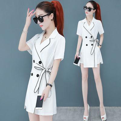 时尚套装女2020夏新款洋气轻熟风复古气质西装连衣裙+短裤两件套