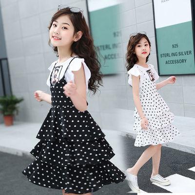 女童波点连衣裙小女孩夏装公主裙儿童裙子荷叶袖中大童雪纺蛋糕裙