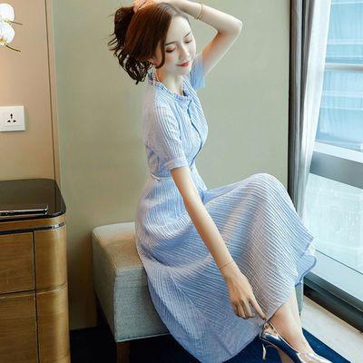 轻熟风雪纺衬衫连衣裙2020新款女装夏淑女收腰显瘦气质女神范衣服