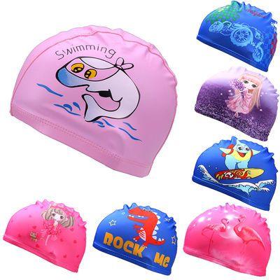 绿游新款卡通儿童泳帽舒适面料可爱游泳帽男童女童布泳帽速干透气