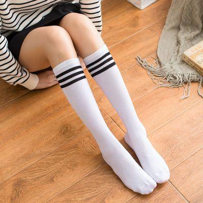 白色足球袜及膝袜长袜韩版日系原宿三杠学生半截学院风高筒女袜子