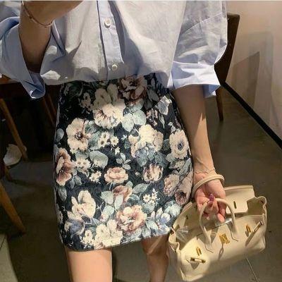 高腰碎花半身裙女2020夏季新款显瘦百搭包臀裙学生a字短裙防走光