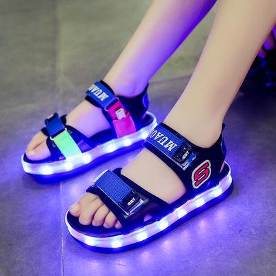 防水儿童发光凉鞋USB充电男女童带亮灯鞋led闪灯鞋夜光鞋带灯凉鞋