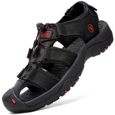 夏季头层牛皮包头新款真皮防滑休闲凉鞋