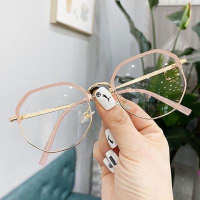 网红近视眼镜女有度数防蓝光辐射超轻多边形眼镜架显瘦学生护目镜