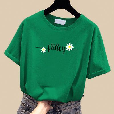 纯棉学生韩版宽松短袖t恤女士夏季2020新款小雏菊白色ins上衣服潮
