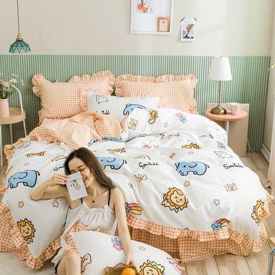纯棉全棉四件套少女心公主风床单被套小清新床笠三件套床上用品
