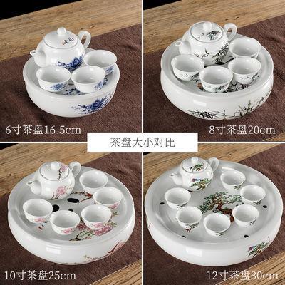 热销陶瓷茶盘 托盘 茶船圆形茶台茶座青花瓷功夫茶具茶盘储水双层