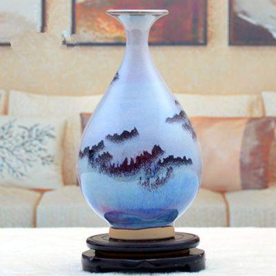 热销现代古典陶瓷工艺品花瓶家居摆件客厅电视柜酒柜装饰品钧瓷双