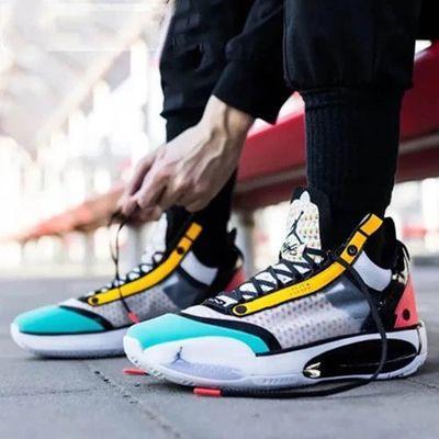 AJ34代篮球鞋首发冰蓝全明星糖果新年黑白红白镭射黑猫日食男女鞋