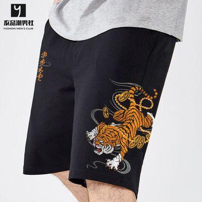 夏季新款中国风老虎刺绣短裤纯棉宽松大码男士潮流五分裤个性中裤