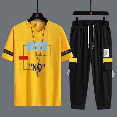 夏季青少年短袖套装10大童12初中学生15高中18男孩休闲运动套衣服