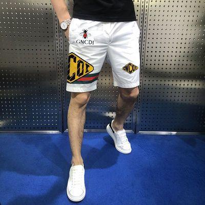 欧洲站夏季新款男士休闲短裤高品质速干裤修身显瘦潮流印花五分裤