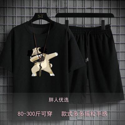 加肥加大男装大码短袖夏季潮精品胖子T恤套装休闲运动两件套