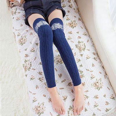女秋冬保暖羊毛羊绒过膝瑜伽跳舞护膝护腿套脚靴套筒袜子堆堆袜套