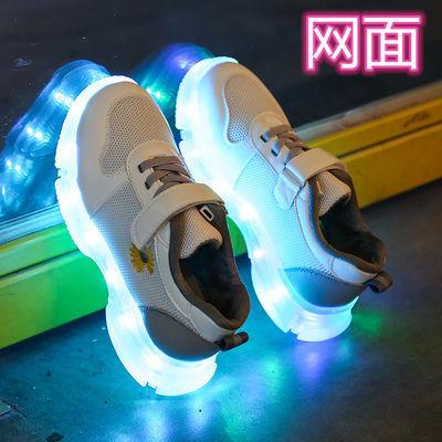 网面发光鞋儿童透气软底女童荧光鞋男童宝宝亮灯鞋usb充电会发光
