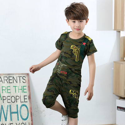 男童夏装套装2020新款夏季4儿童迷彩服5短袖t恤9纯棉10中大童运动
