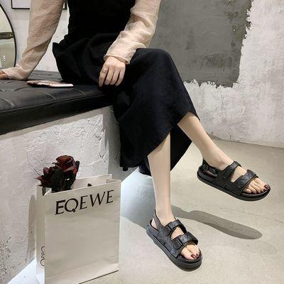 小香风凉鞋女2020夏季新款学生妈妈平底软底港味百搭罗马运动凉鞋