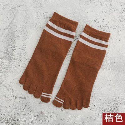 五指袜女士纯棉中筒棉袜运动全棉纯色防臭吸汗春秋季加厚分趾袜子