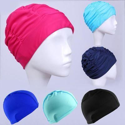 女士泳帽时尚成人男女儿童通用莱卡锦纶布纯色游泳帽高弹适合长发