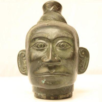 青铜人首像古董头像古玩铜器工艺品摆件收藏博物架礼品影视道具
