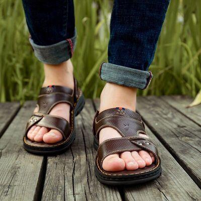 【花花公子男鞋】男士新款真皮凉鞋男夏季防滑沙滩鞋拖鞋男鞋厚底