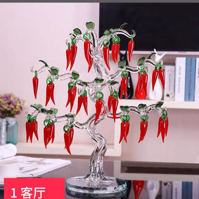 热销水晶红辣椒树客厅酒柜装饰品风水礼物乔迁开业招财创意工艺品
