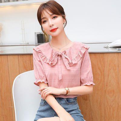 短袖女娃娃领显瘦小衫2020夏季新款甜美蝴蝶结仙女上衣洋气雪纺衫