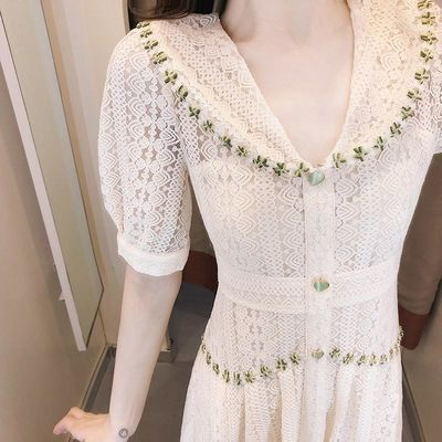 阿依莲朵以女装高档蕾丝连衣裙2020新款气质女神范淑女收腰显瘦时
