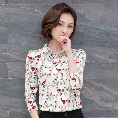2020春夏装季长短袖雪纺上衣女新款碎花衬衫中年妈妈洋气打底衬衣