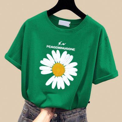 100%纯棉短袖t恤女学生韩版宽松2020夏季新款小雏菊ins体恤上衣潮