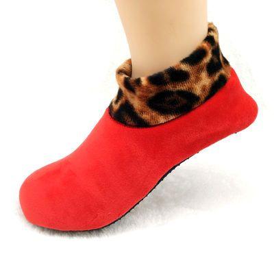 包邮秋冬加绒豹纹成人女士保暖地板袜加厚袜套瑜伽袜防滑男士短袜