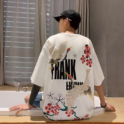 2020夏季新款男士国潮仙鹤宽松短袖圆领T恤时尚都市大码体恤衫男