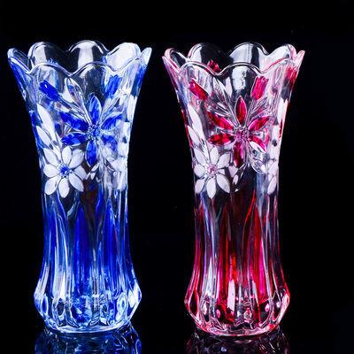 玻璃花瓶加厚创新款客厅卧室百合花富贵竹水培透明彩色玻璃干花瓶