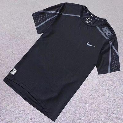 夏季男t��短袖弹力速干衣户外运动t恤衫健身服跑步服透气吸汗上衣