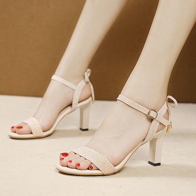 2020夏季新款韩版时装高跟凉鞋细跟时尚蝴蝶结一字扣露趾百搭女鞋