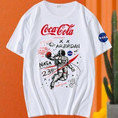 NASA联名男t恤短袖韩版潮流学生纯色修身男孩boy体恤初中生青少年