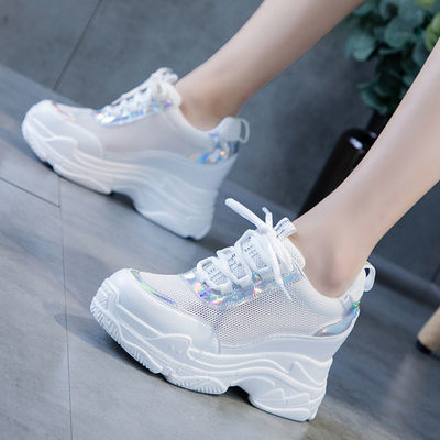 小白鞋女透气网面运动鞋2020夏季新款休闲鞋百搭老爹鞋内增高女鞋
