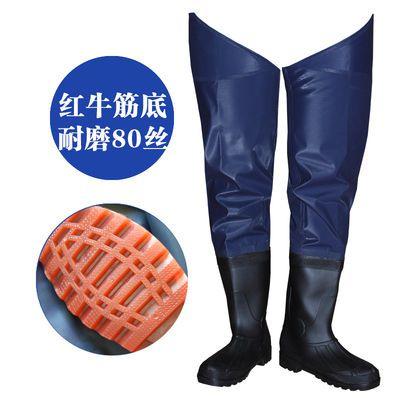半身过膝下水裤钓鱼鞋捕鱼裤子插秧靴高筒雨鞋雨靴路亚连体胶鞋男