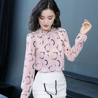 2020年新款短袖春装时尚长袖打底小衫雪纺上衣气质衬衫女洋气夏装