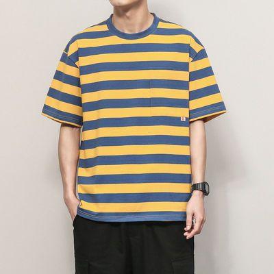 男装夏季短袖T恤男士条纹休闲汉衫潮牌潮流宽松时尚衣服男ins