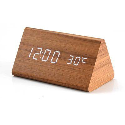 创意学生夜光数字闹钟声控万年历静音智能led电子钟多功能木头钟