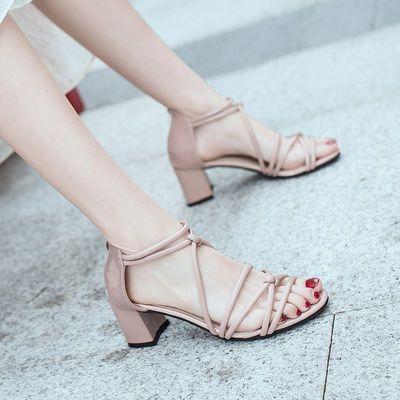 凉鞋女新款粗跟夏季罗马交叉绑带露齿时尚韩版百搭后拉链高跟凉鞋