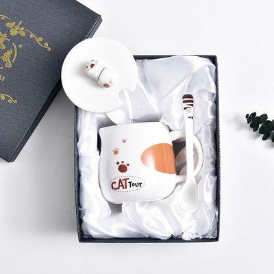 热销可爱猫咪马克杯卡通陶瓷杯子情侣男女水杯咖啡杯带盖勺早餐牛